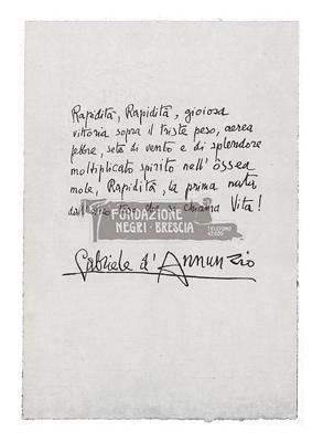 Lettera di Gabriele D'Annunzio l'automobile è femmina
