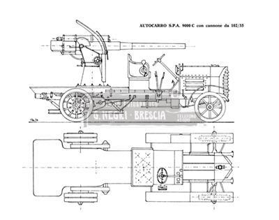 Disegno dell'autocarro militare Spa 9000 C con cannone da 102/35 mm